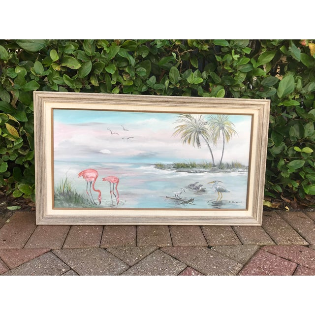"""Vintage """"Old Florida"""" Style Shoreline Scene Original Painting For Sale In West Palm - Image 6 of 6"""