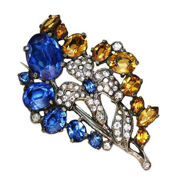 Blue & Topaz Faceted Glass Brooch, C1930, Vintage Brooch, Flower Brooch, Gifts for Her For Sale - Image 4 of 4