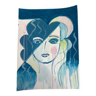 "Original Indigo Blue & Pink ""Elle"" Acrylic Painting by Anastasia George"