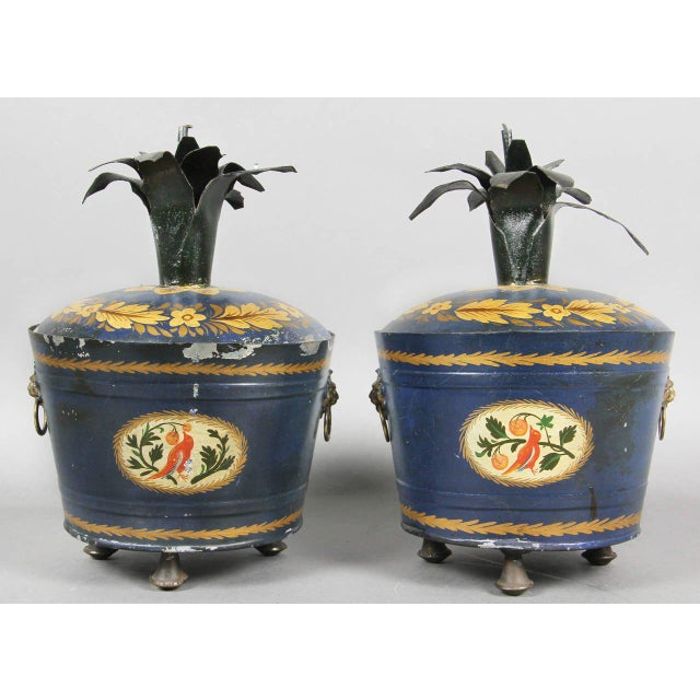 Mid-Century Modern Pair of Swedish Tole Peinte Covered Barrels For Sale - Image 3 of 12