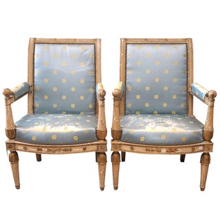 Carved & Painted Consulate Armchairs - A Pair