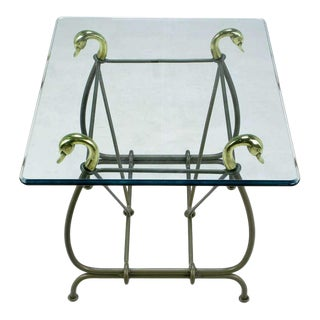 Iron End Table Surmounted By Cast Brass Swans & Glass Top For Sale