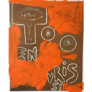 Abstract Framed Picasso Poster by Sean Kratzert 'Orange Too' For Sale