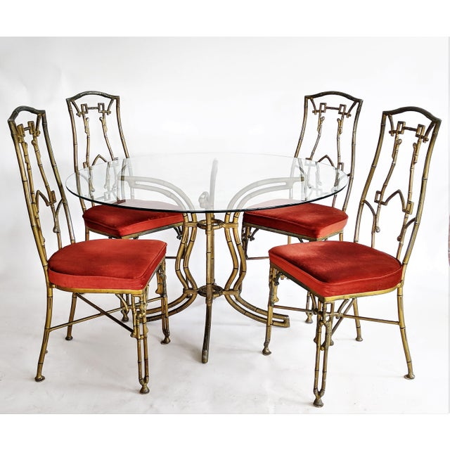 Kessler Industries Mid-Century Modern Cast Aluminum Faux Bamboo Dining Set For Sale - Image 11 of 11