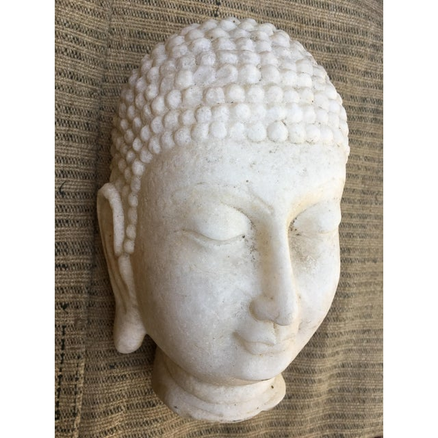 Hand Chiseled Marble Head of Buddha Statue - Image 2 of 6