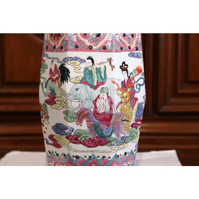 Ceramic Mid-20th Century Chinese Famille Rose Garden Seat For Sale - Image 7 of 9