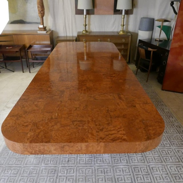 """Paul Evans Monumental Signed Paul Evans Burled & Chrome """"Cityscape"""" Extension Dining Table For Sale - Image 4 of 13"""