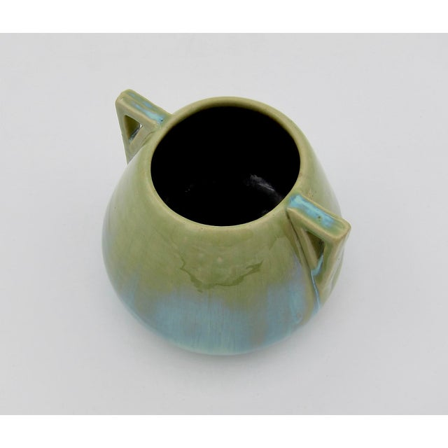 Light Green Vintage Fulper Pottery Arts & Crafts Double Handled Vase With Flambé Glaze For Sale - Image 8 of 11