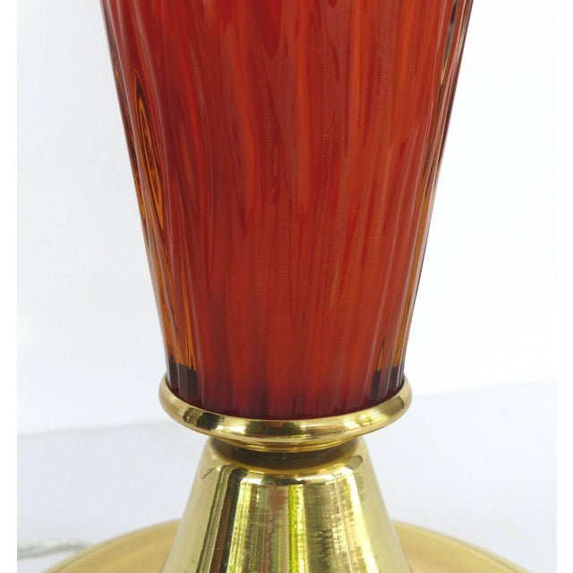Murano Glass Mid-Century Modern Handblown Lamps With Brass Bases and Shades For Sale In Miami - Image 6 of 11