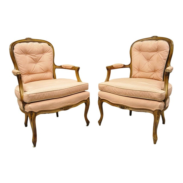 French Louis XV Provincial Style Carved Walnut Cane Back Arm Chairs - a Pair For Sale