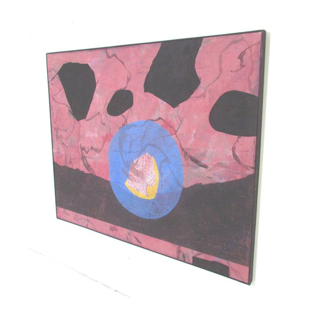 Pink Abstract Modernist Painting by French Artist Jeanick Bouys For Sale - Image 8 of 10