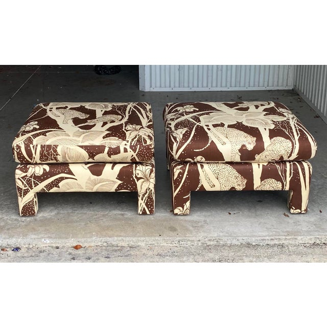 Coffee Vintage Cheetah Print Ottomans - a Pair For Sale - Image 8 of 8