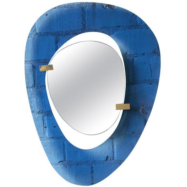 Fontana Arte Rare Light Blue Sculptural Wall Mirror by Max Ingrand, Italy, 1958 For Sale - Image 9 of 9