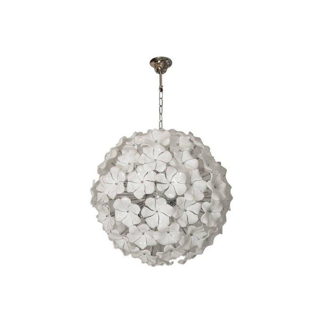 Murano Venini Style Murano Glass Flowers Chandelier For Sale - Image 4 of 4