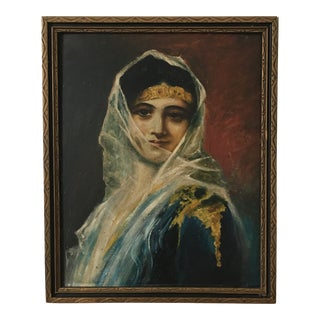 Oil on Board Portrait of a Veiled Woman For Sale