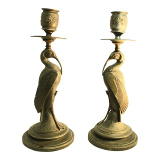 1920s Asthetic Movement Egyptian Decorative Style Candlesticks - a Pair For Sale