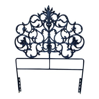 Antique Italian Twin Ebonized Metal Headboard For Sale