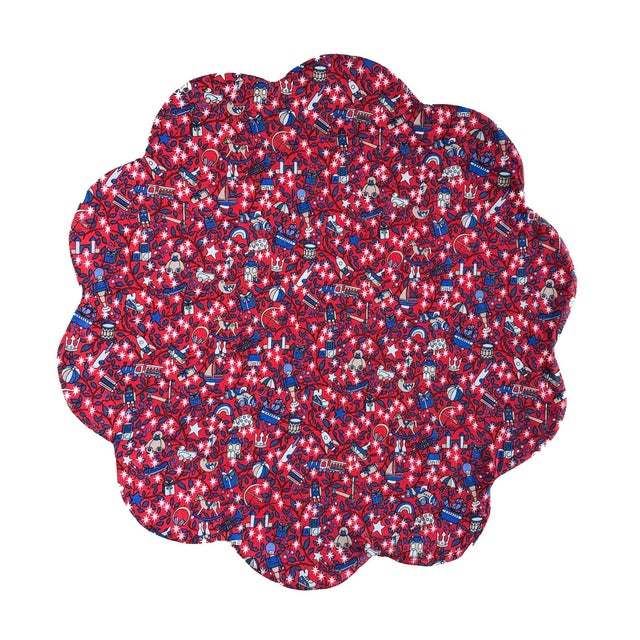 Liberty of London Scalloped Placemat Red Magical Forest - Set of 4 For Sale - Image 4 of 4