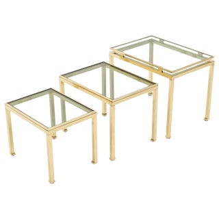 Brass Nesting Table Guy Lefevre for Maison Jansen, 1970s For Sale