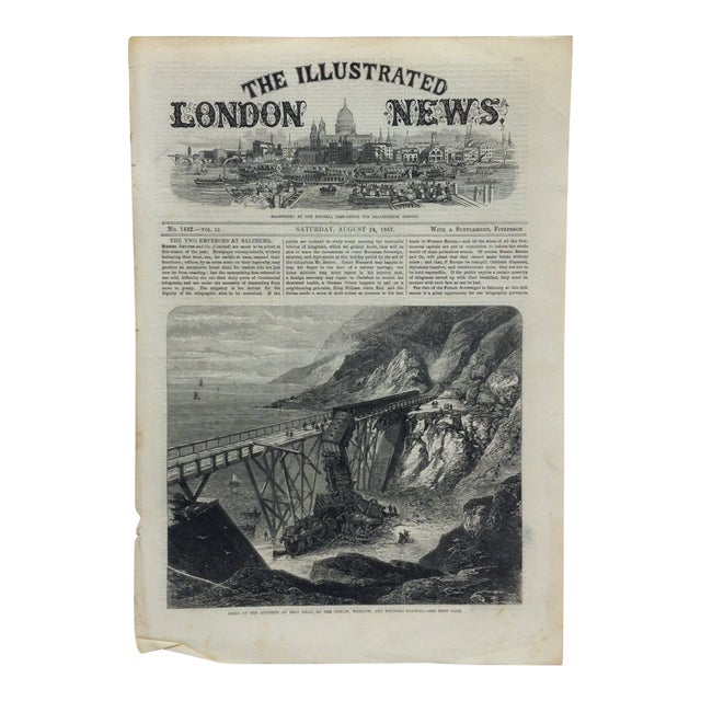 "1867 Antique Illustrated London News ""Scene of the Accident at Bray Head"" Print For Sale"