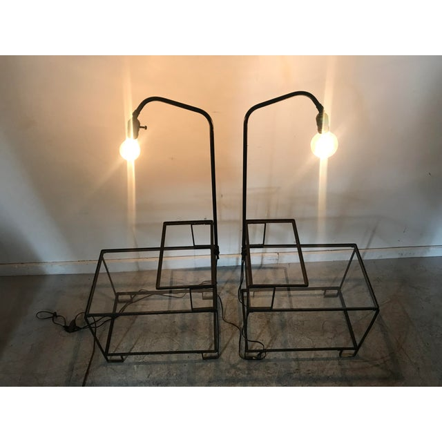 Metal Mid-Century Wrought Iron Table & Lamp Combo in the Style of Weinberg, McCobb For Sale - Image 7 of 13