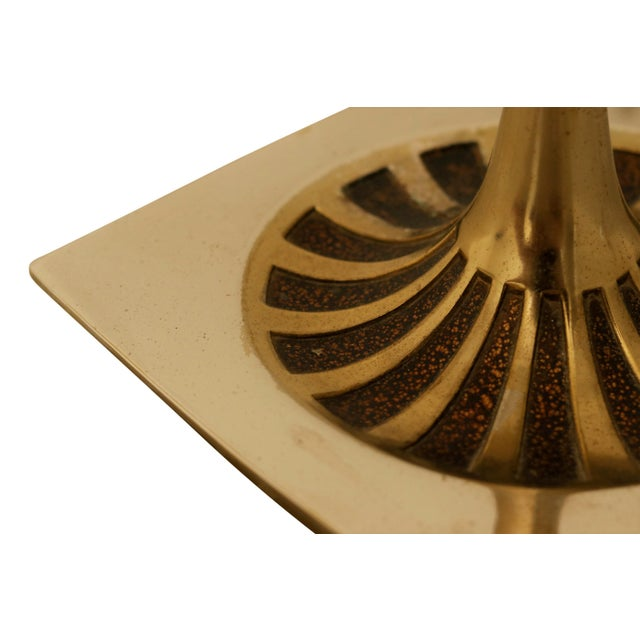 Mid 20th Century Art Deco Brass and Glass Floor Lamp For Sale - Image 5 of 6