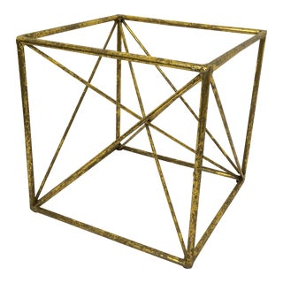 Abstract Contemporary Metal Cube Sculpture