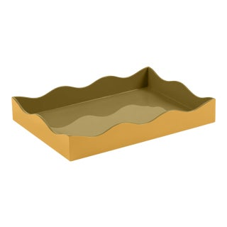 The Lacquer Company for Chairish Belle Rives Tray in Mayan Gold / Olive, Medium For Sale