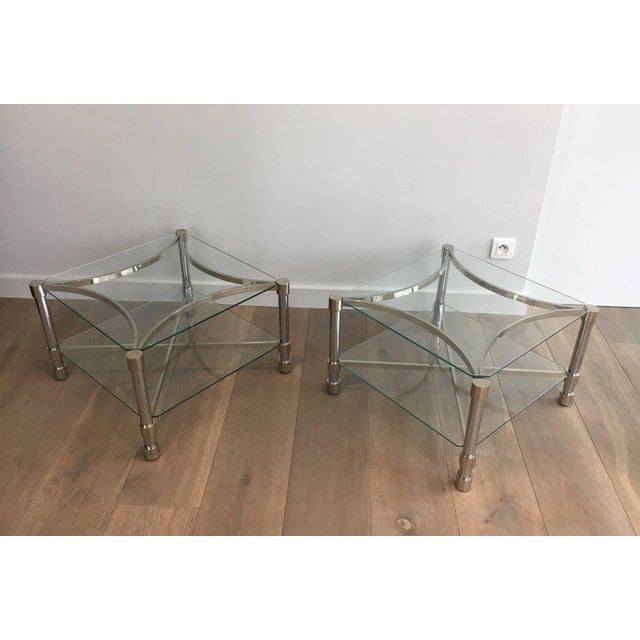 Pair of Double-tiered Chrome Side Tables For Sale - Image 5 of 11