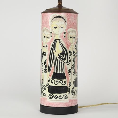 This charming ceramic table lamp features women in mod black-and-white cocktail dresses against a pink background. New...