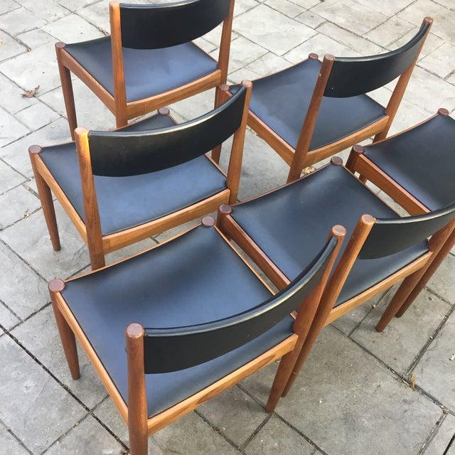 Danish Modern Teak and Black Vinyl Dining Chairs - Set of 6 - Image 6 of 11