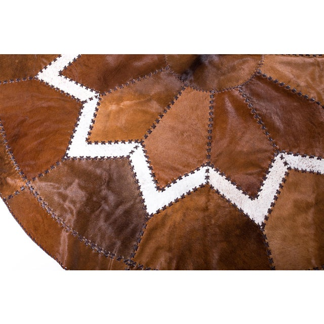 European Design Patchwork Cowhide Rug - 6' X 6' / Hair-On-Hide / Brand New - Image 7 of 10