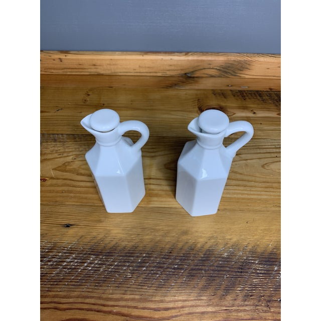 White Vintage White Condiment Jars - a Pair For Sale - Image 8 of 11