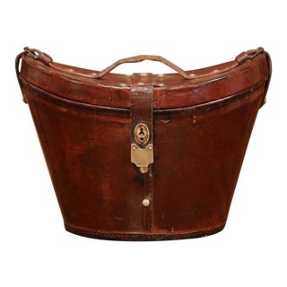 19th Century, French Oval Pigskin Leather Hat Box From Paris For Sale