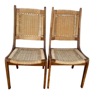 1960s Vintage Hans Wegner Style Rope Chairs - A Pair For Sale
