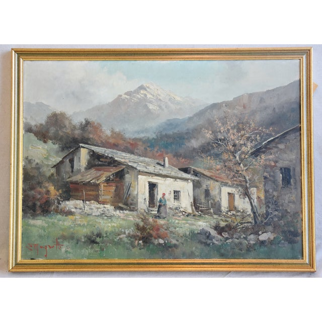Rustic Framed Country Cottage Landscape Oil Painting For Sale - Image 9 of 10