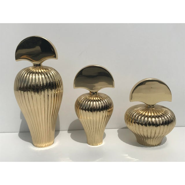 Decorative Brass Perfume Bottles - Set of 3 For Sale In Los Angeles - Image 6 of 6