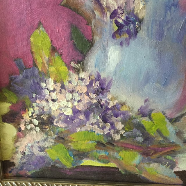 2010s Original Flower & Cat Still Life Oil Painting by Marina Movshina For Sale - Image 5 of 7