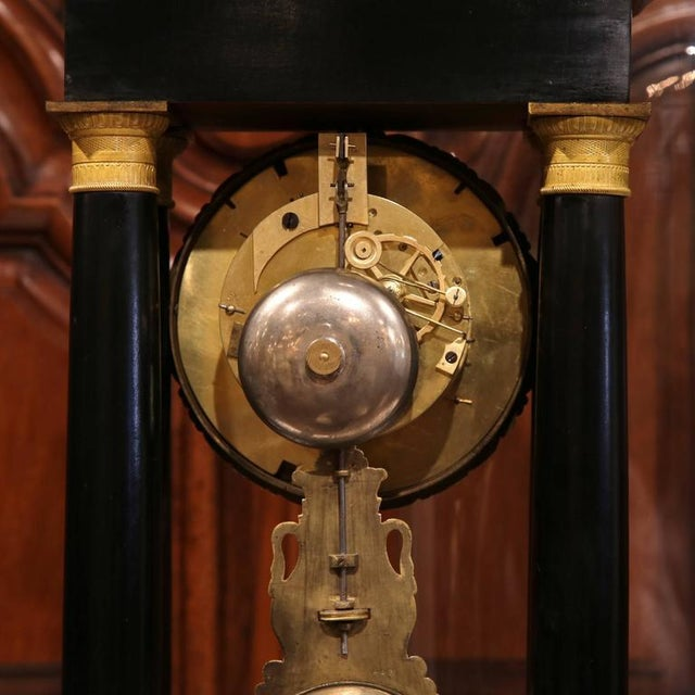 Gold 19th Century French 4-Columns Empire Mantel Clock with Original Glass Dome For Sale - Image 8 of 9