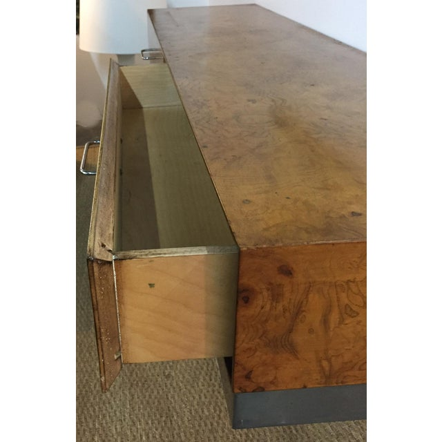 Mid-Century Burlwood Floating Console Table, Desk For Sale - Image 9 of 10