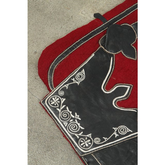 Moroccan Horse Saddle Blanket Black and Red For Sale - Image 4 of 10