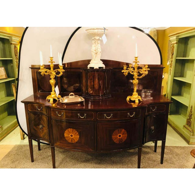 Sheraton Flame Mahogany 19th Century Sideboard Buffet With Inlaid Backsplash Top For Sale - Image 10 of 13
