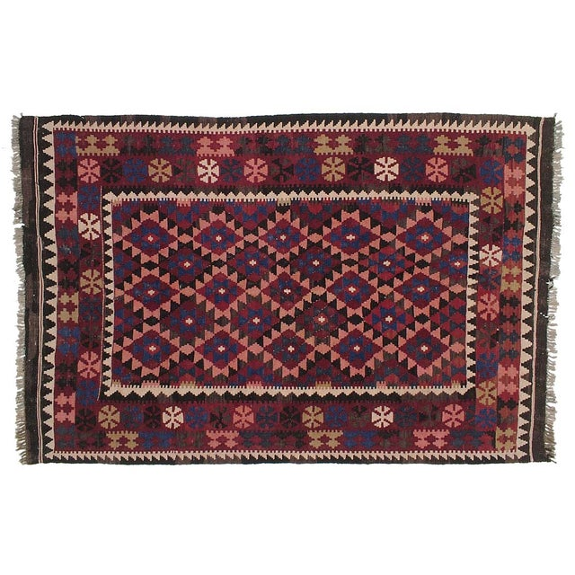 "Vintage Afghan Kilim - 5'3"" x 8' For Sale"