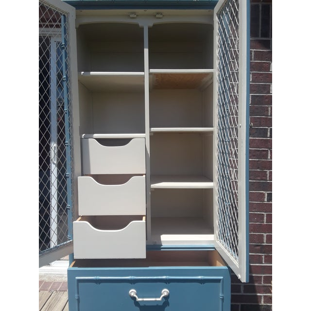 Thomasville Allegro Chinoiserie Style Faux Bamboo Armoire For Sale - Image 6 of 11