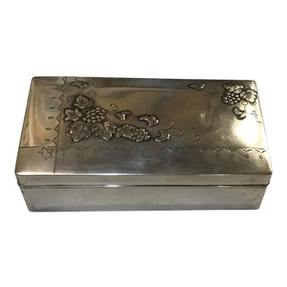 1960s Floral Embossed Sterling Silver Japanese Box For Sale