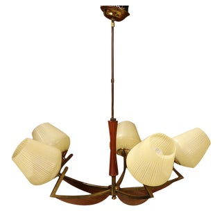 Mid Century Modern Walnut Brass Glass Five Light Chandelier For Sale