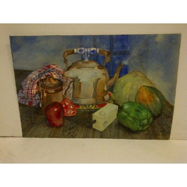 "Farmhouse ""Tea Kettle"" Antique Original Painting by Stephen Pole For Sale - Image 3 of 6"
