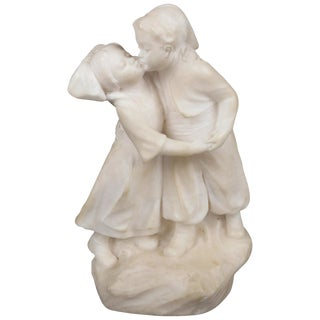 Antique Figural Hand Carved Alabaster Sculpture of a Boy, Girl & a Kiss For Sale