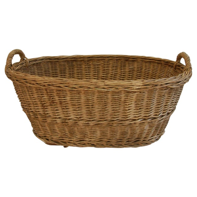 Early 1900s Woven French Country Market Basket - Image 1 of 8