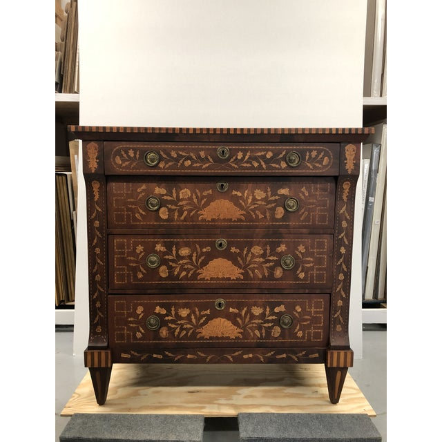 Early 19th Century Dutch Hardwood Inlaid Four Drawer Chest For Sale - Image 13 of 13